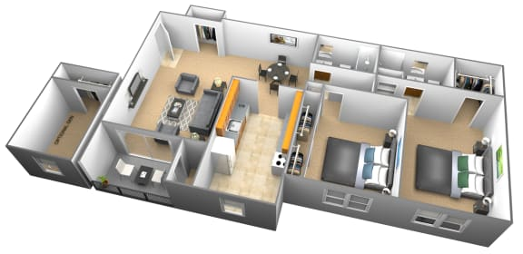 Floor Plan  2 bedroom 2 bathroom 3D floor plan at Woodridge Apartments in Randallstown, Maryland