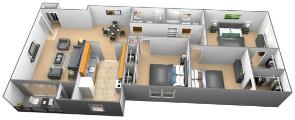 Floor Plan  3 bedroom 2 bathroom 3D floor plan at Woodridge Apartments in Randallstown, Maryland
