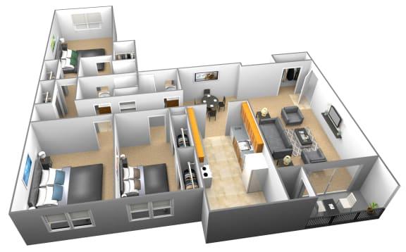 Floor Plan  3 bedroom 3 bathroom 3D floor plan at Woodridge Apartments in Randallstown, Maryland