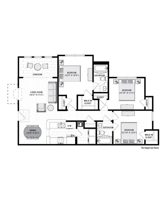 Floor Plan  Reserve at Wescott  Hogan sunroom Floor plan