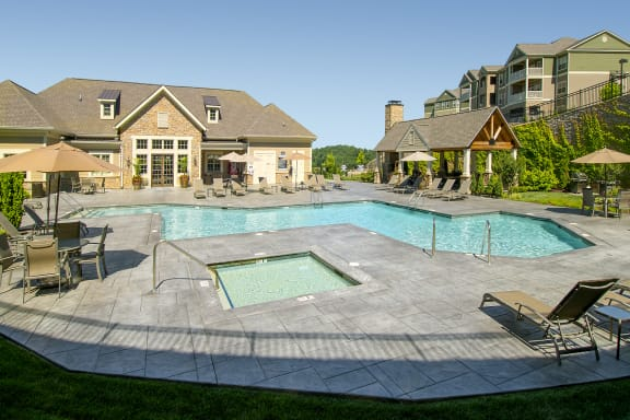 pool with hot tub and sundeck