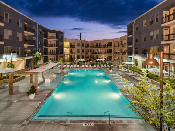 Modern Saltwater Pool with Sun Shelf at Millworks Apartments, Atlanta, GA, 30318