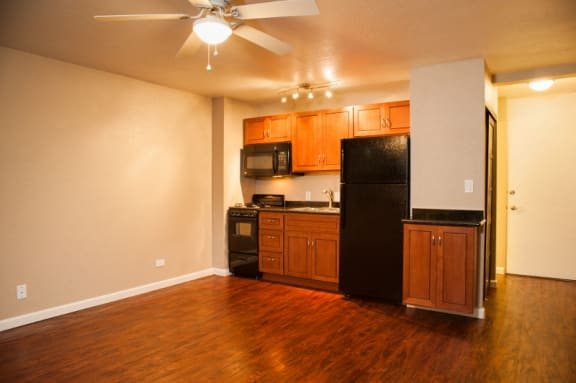Lahaina Town Apartments living and kitchen area
