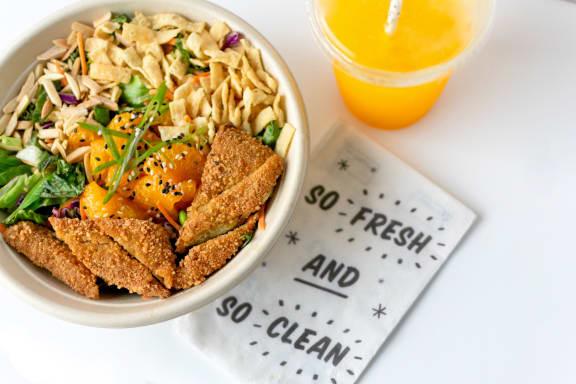 chicken meal at Patterson Place, Santa Barbara California