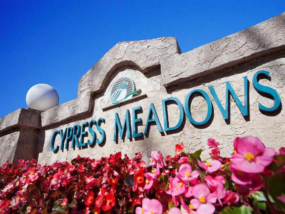 Decorated Entry Sign at Cypress Meadows Senior Apartments, Ventura, CA, 93003