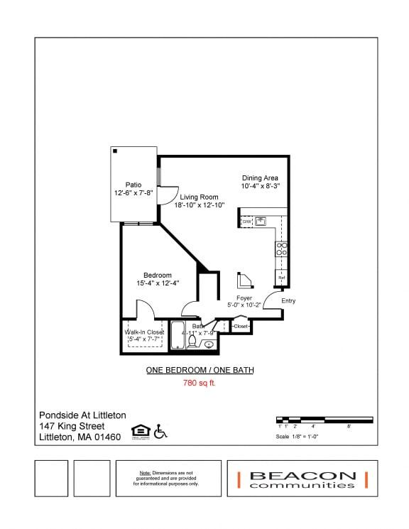 Floor Plan  One bedroom apartments Pondside at Littleton