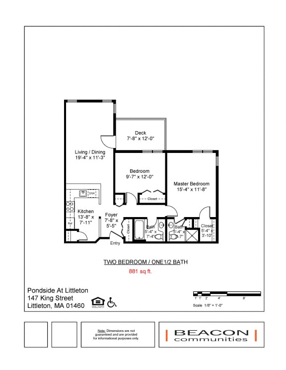 Floor Plan  Two bedroom apartments Pondside at Littleton