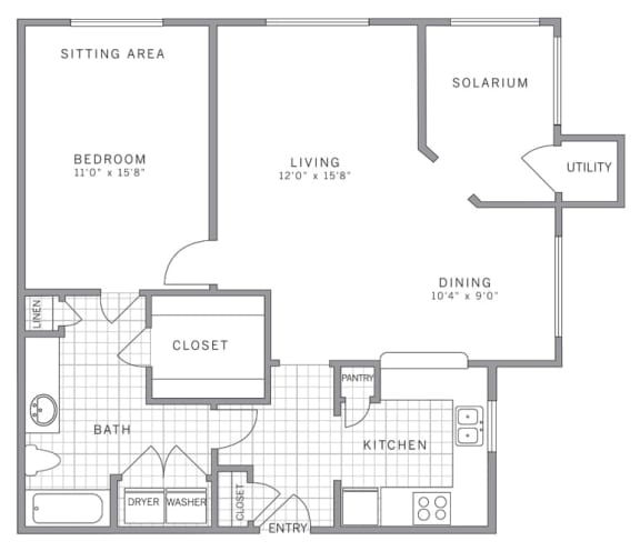 Floor Plan  A3 Solarium Floor Plan at AVE Somerset, New Jersey, 08873