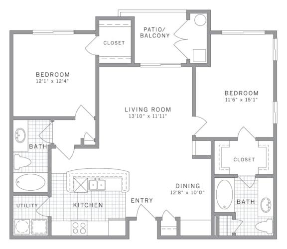 Floor Plan  B1 Floor Plan at AVE Clifton, Clifton, NJ