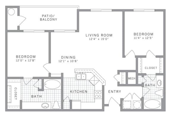 Floor Plan  B2 Floor Plan at AVE Clifton, Clifton, 07012