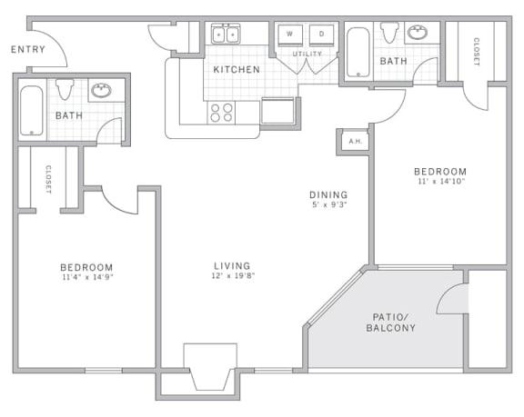 Floor Plan  B1 Floor Plan at AVE Malvern, Malvern, PA, 19355