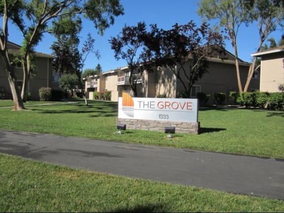 Entry Sign l The Grove Apartments in Davis CA