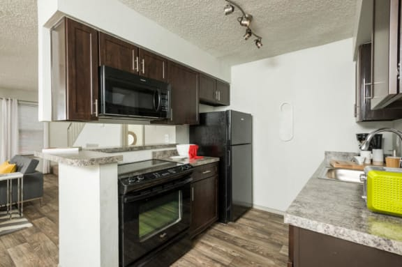 Upgraded Kitchen with Black Appliances Picture