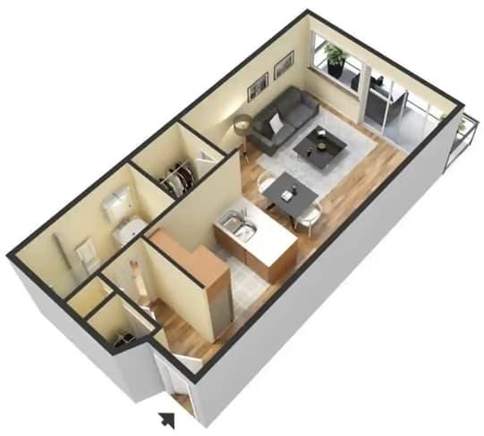 Floor Plan  A – 0 Bedroom 1 Bath Floor Plan Layout – 430 Square Feet