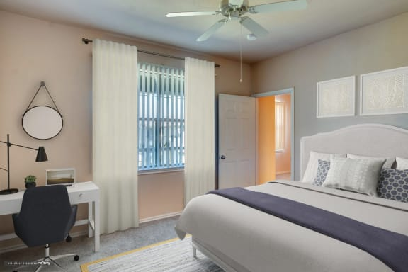 Rosemont at Mayfield Villas Apartments Model Bedroom and Window