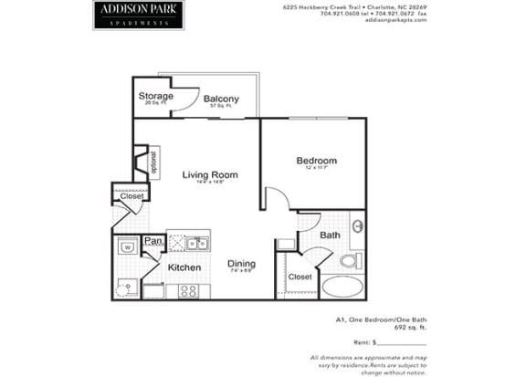 A1.1A Floor Plan at Addison Park, Charlotte, NC, 28269