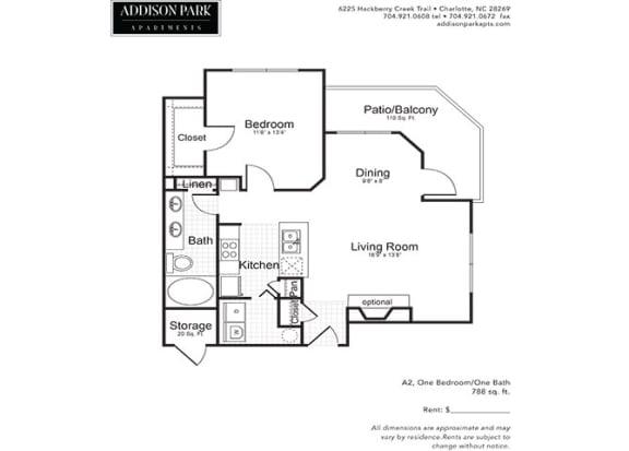 A2.1a 1 Bed 1 Bath Floor Plan at Addison Park, Charlotte, 28269