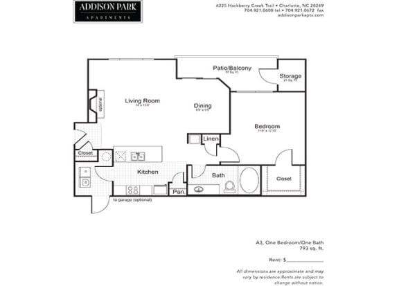 A3.1a 1 Bedroom 1 Bathroom Floor Plan at Addison Park, North Carolina, 28269