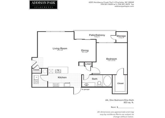 A4.1ar 1 Bed 1 Bath Floor Plan at Addison Park, Charlotte, NC
