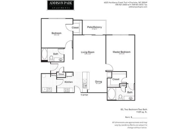 B3.2a 2 Bed 2 Bath Floor Plan at Addison Park, Charlotte, NC