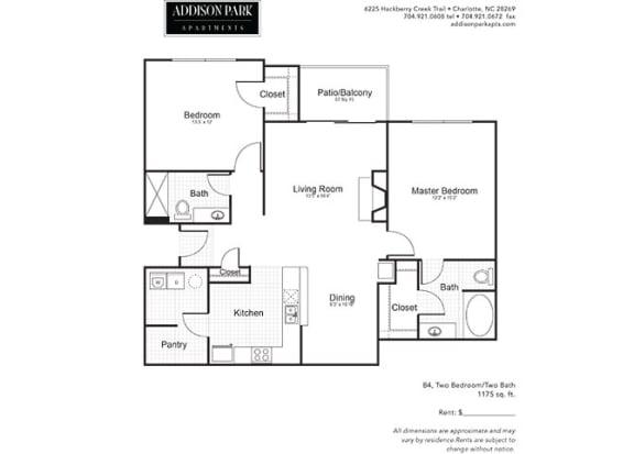 B4.2a 2 Bed 2 Bath Floor Plan at Addison Park, Charlotte, 28269