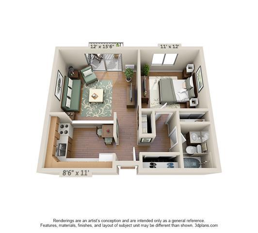 Floor Plan  1 Bedroom (Large)