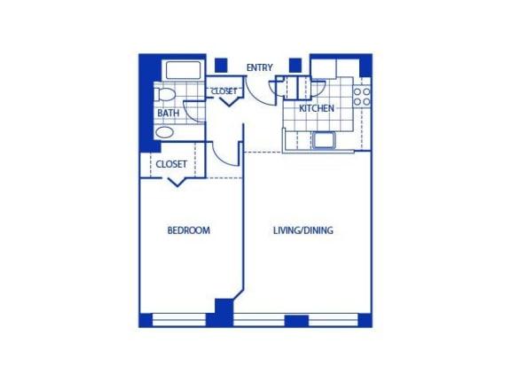 One Bed One Bath Floor Plan |Bigelow Commons