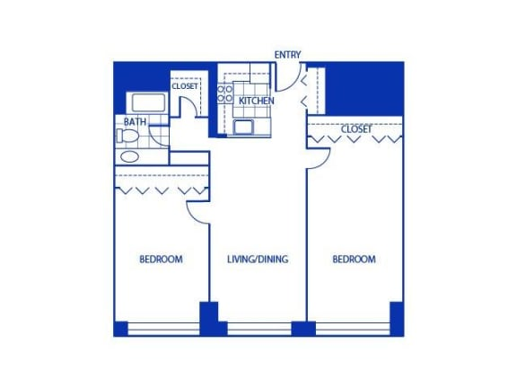 Two Bed One Bath Floor Plan |Bigelow Commons