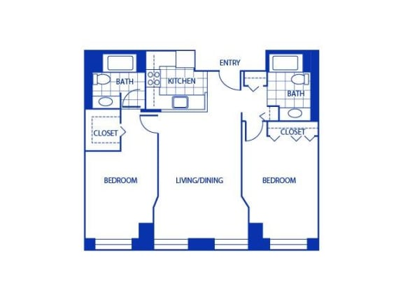 Two Bed Two Bath Floor Plan |Bigelow Commons