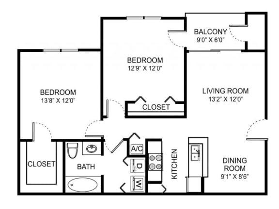 2-1 1009 Sqft Floor Plan| Cypress Shores