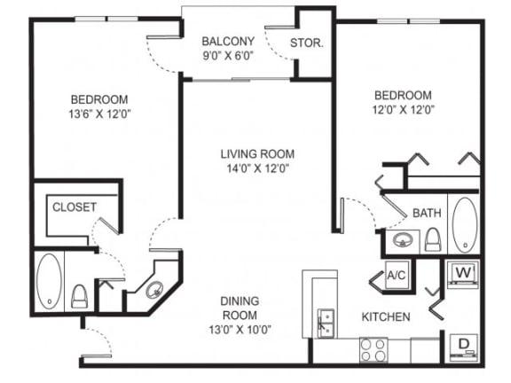 2-2 1086 Sqft Floor Plan  Cypress Shores