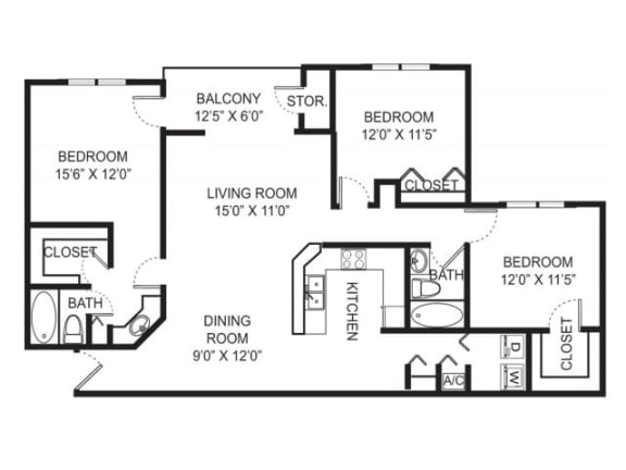 3-2 1394 Sqft Floor Plan| Cypress Shores