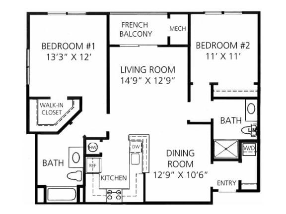B-2 1045 Floor Plan |Faxon Woods