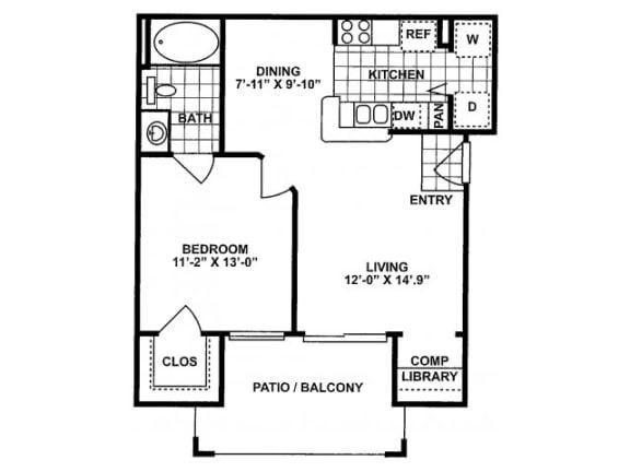 1X1A Floor Plan| Lodges at Lakeline Village