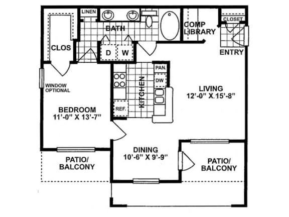 1X1B Floor Plan | Lodge at Lakeline Village