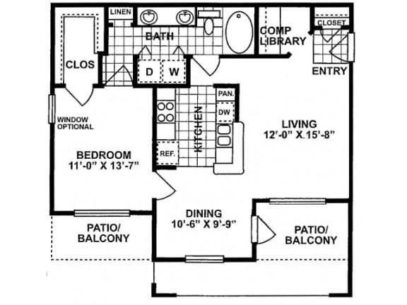 1X1B Deluxe Floor Plan   Lodge at Lakeline Village