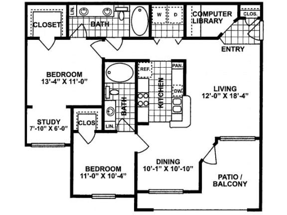 2X2C Deluxe Floor Plan   Lodge at Lakeline Village