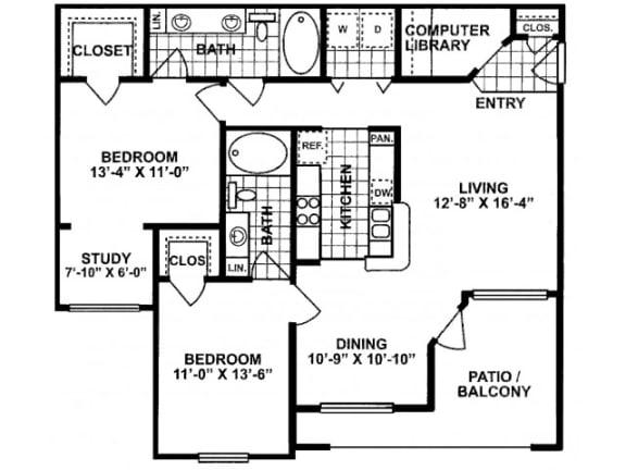 2X2D Deluxe Floor Plan   Lodges at Lakeline Village