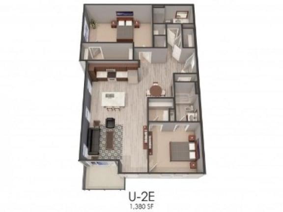 Floor Plan  2E Floor Plan |Lofts at Zebulon