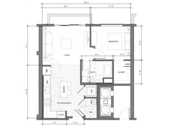 Floor Plan  1BR G Balcony Floor Plan| Merc