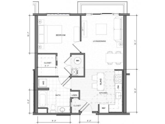 Floor Plan  1BR Standard Balcony Floor Plan| Merc