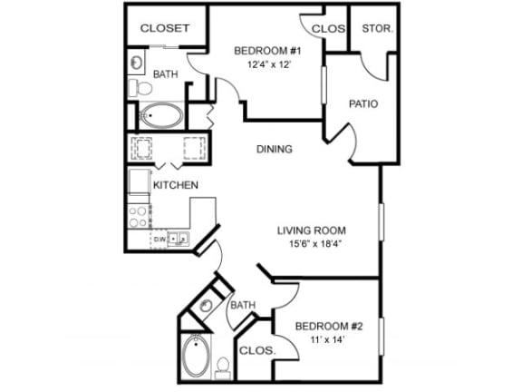 2B-961 Floor Plan | Northland at the Arboretum