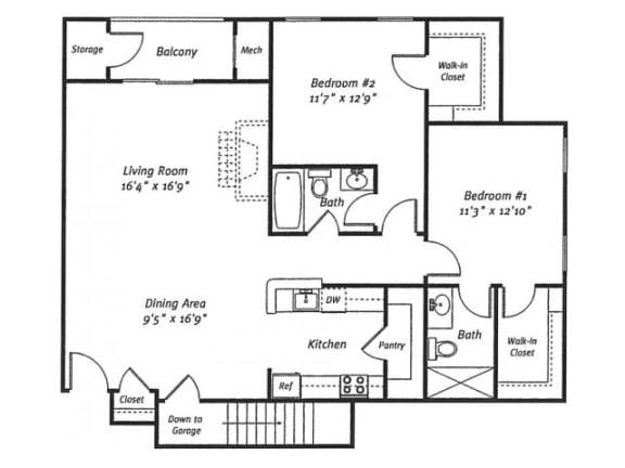 Floor Plan  2Bed2Bath_1282 Floor Plan |Residences at Westborough