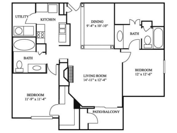 2B_1243 Floor Plan | River Stone Ranch