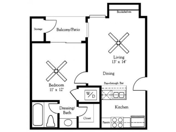 Floor Plan  1X1A FloorPlan  |Village Oaks