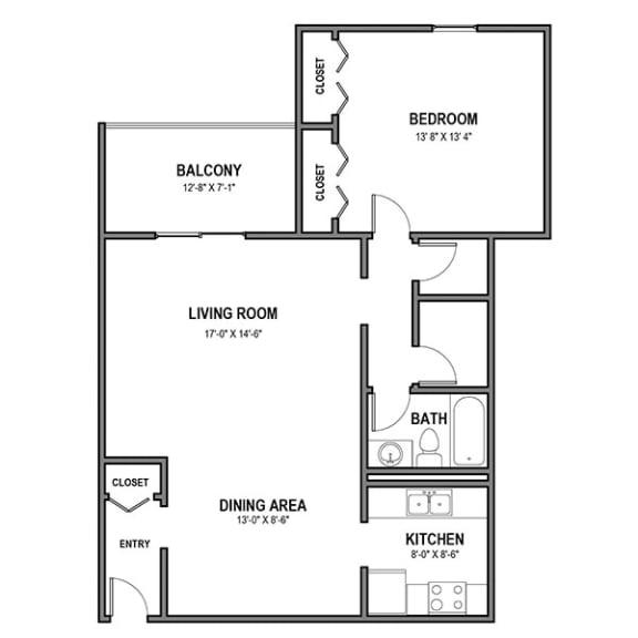 Floor Plan  Walnut Crossings Large 1 BR, 1 Bath, Balcony, Walnut Crossings Apartments, Monroeville, PA