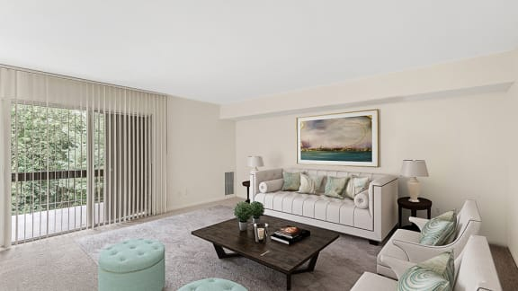 Living Room With Expansive Window at The Commons of McLean, McLean, Virginia
