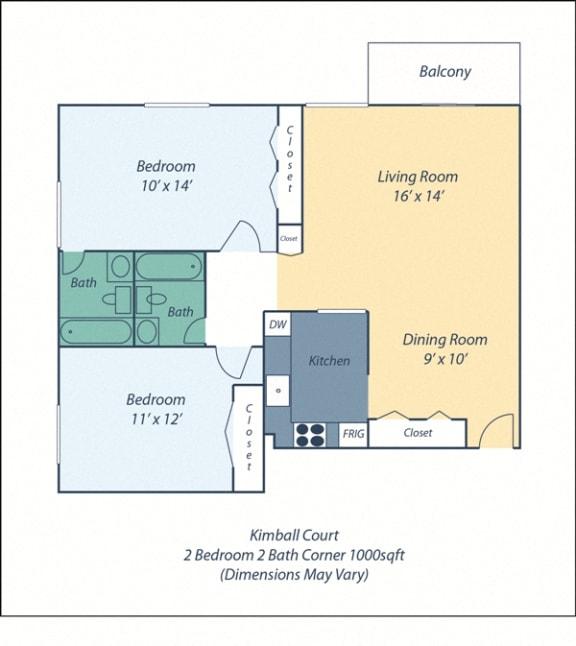 Floor Plan  Two Bed Two Bath Kimball III