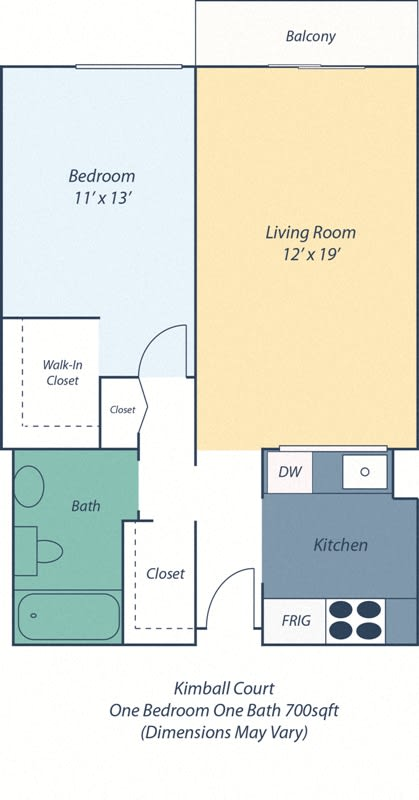 Floor Plan  One Bed One Bath Kimball I