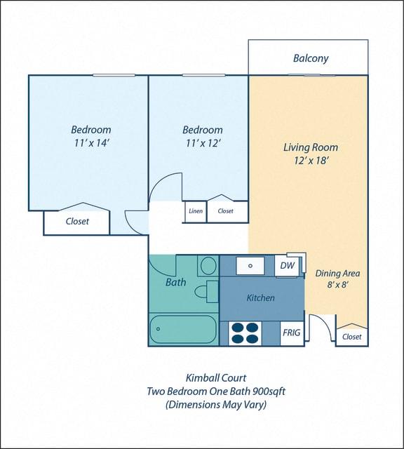 Floor Plan  Two Bed One Bath Kimball I